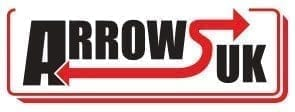 Arrows UK logo, Black Bold Text with Red Outline, Red Arrow