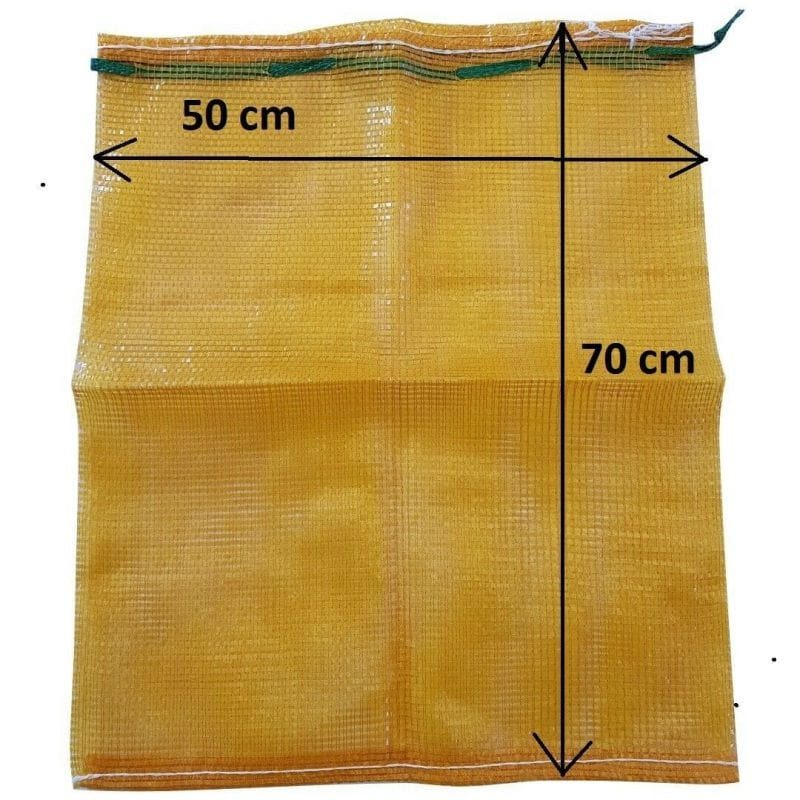 mesh log bag, yellow, 50x70