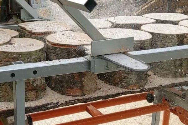 universal sawmill, chainsaw mill, milling wood coins, timberjig, chain sawmill
