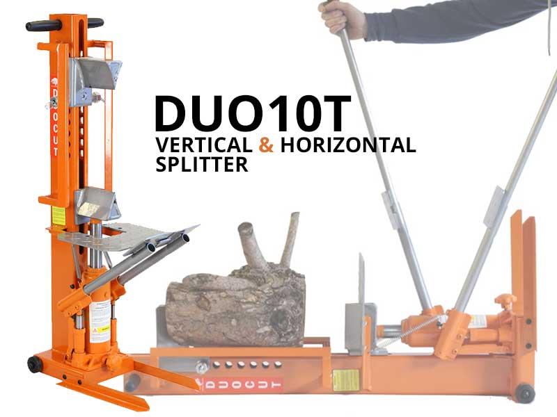 DUO10T, duocut, vertical log splitter, split wood, 10 ton log splitter