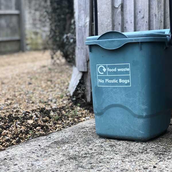 compost bin, recycling bin, food waste