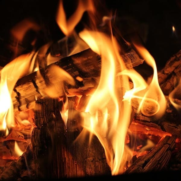 log fire, seasoned wood, yellow flame