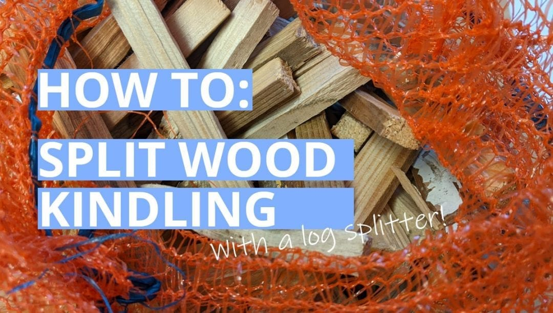 split wood kindling, pine wood, mesh log bag