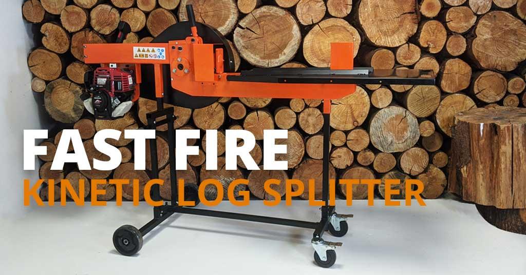 kinetic log splitter, petrol log splitter, fast fire