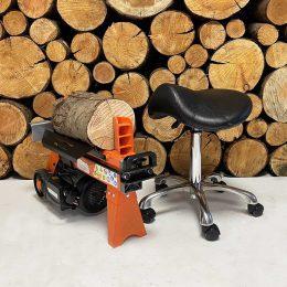 log splitter, stool