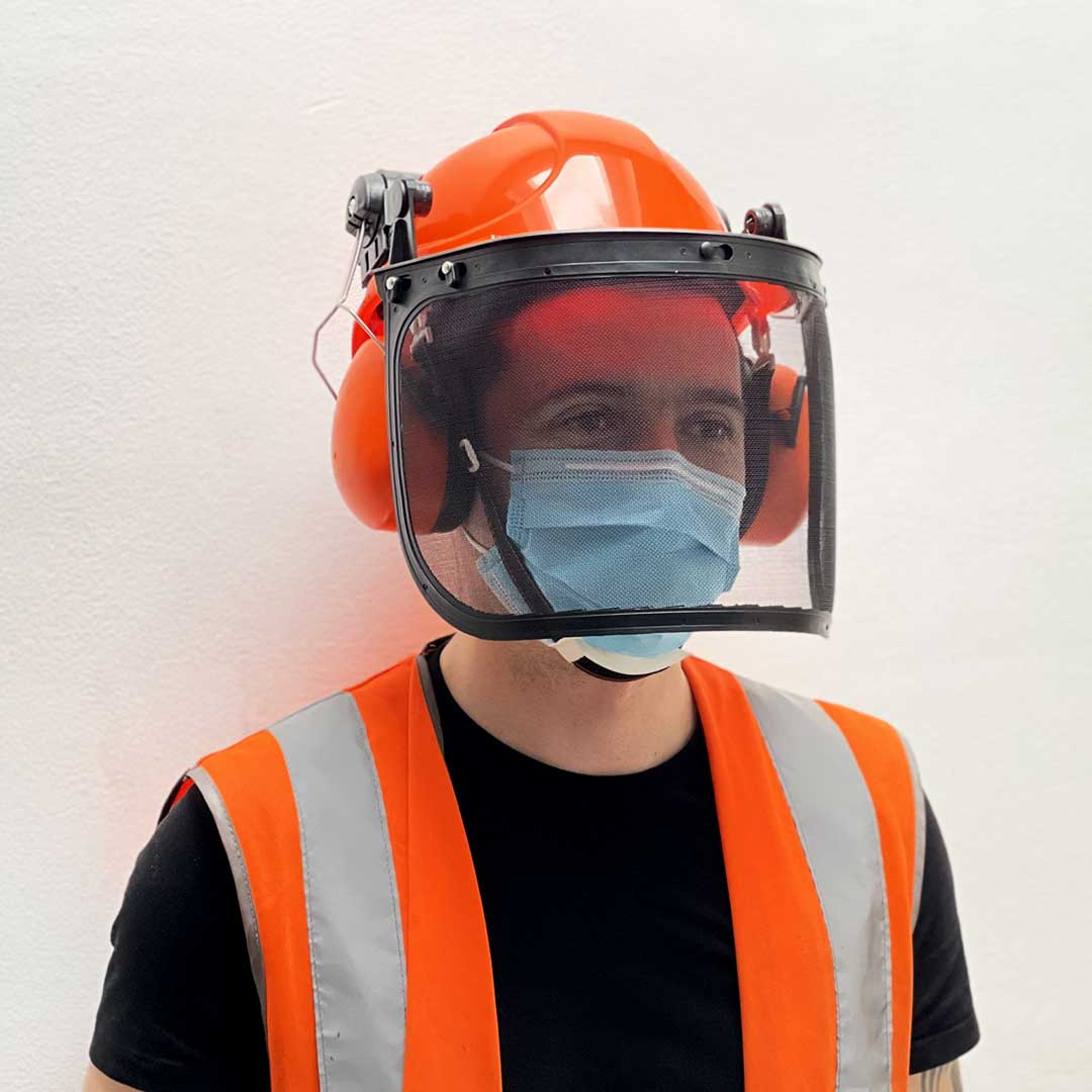 safety helmet, safety helmet with visor, ear defenders
