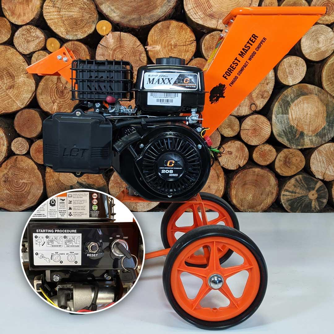 Electric Start Wood Chipper, 6HP Petrol Chipper, Garden Shredder